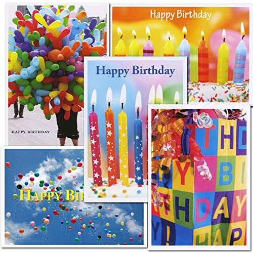 Birthday Card Assortment, 2 Each of 5 Designs Boxed 10 Cards & env Made in USA by CroninCards