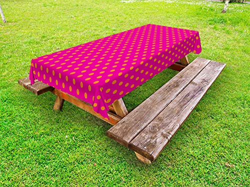 (Ambesonne Pink and Orange Outdoor Tablecloth, Warm Colored Polka Dots Pattern Traditional Design Abstract Shapes, Decorative Washable Picnic Table Cloth, 58 X 104 Inches, Pink Orange)