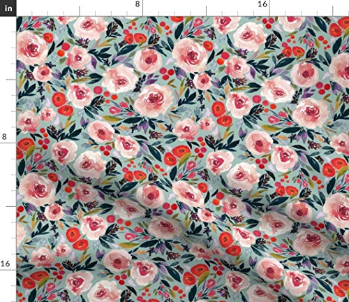 Modern Berries Bedding - Spoonflower Floral Fabric - Floral Berries Blue Pink Florals Baby Blanket Bedding Berries Pink Blue by Indybloomdesign Printed on Modern Jersey Fabric by The Yard