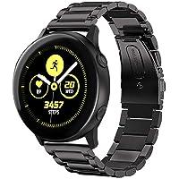 Jasinber Correa de Acero Inoxidable Reemplazo de Banda de la Muñeca con Metal Corchete para Samsung Galaxy Watch Active (40mm) (Negro)