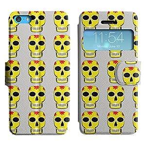 LEOCASE Cráneo Amarillo Funda Carcasa Cuero Tapa Case Para Apple iPhone 5C No.1002238