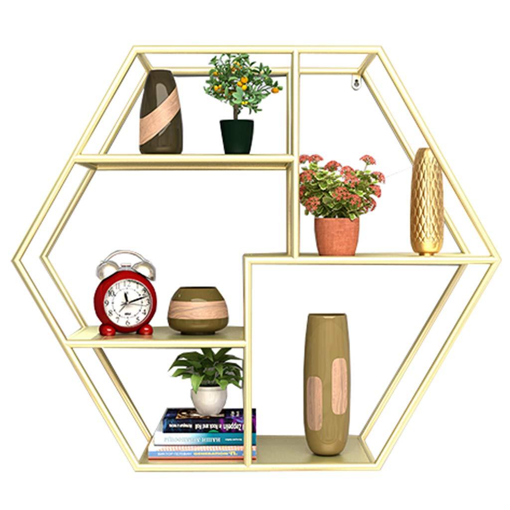 ラック リビングルーム装飾フレーム錬鉄製の壁掛け棚シンプルなリビングルームの壁クリエイティブディスプレイ棚 B07SZMX73B