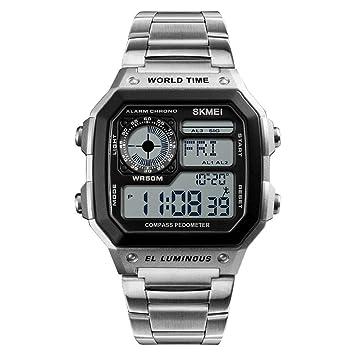 WULIFANG Brújula Militar Relojes Deportivos Hombre De Caloría Impermeable Reloj Pulsera Acero Reloj Cronógrafo Silver Watch