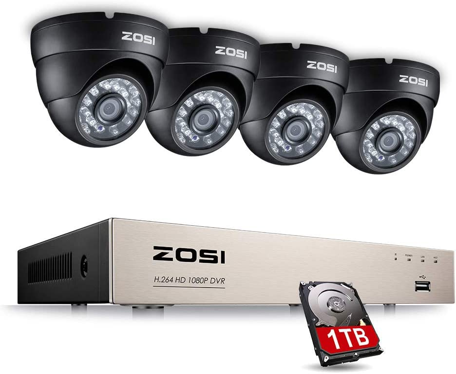 ZOSI Home Security Camera System 8Channel Full 1080P HD TVI Surveillance Wired DVR and 4X 1080P HD Weatherproof Outdoor Indoor Night Vision CCTV Dome Cameras 1TB Hard Drive Included