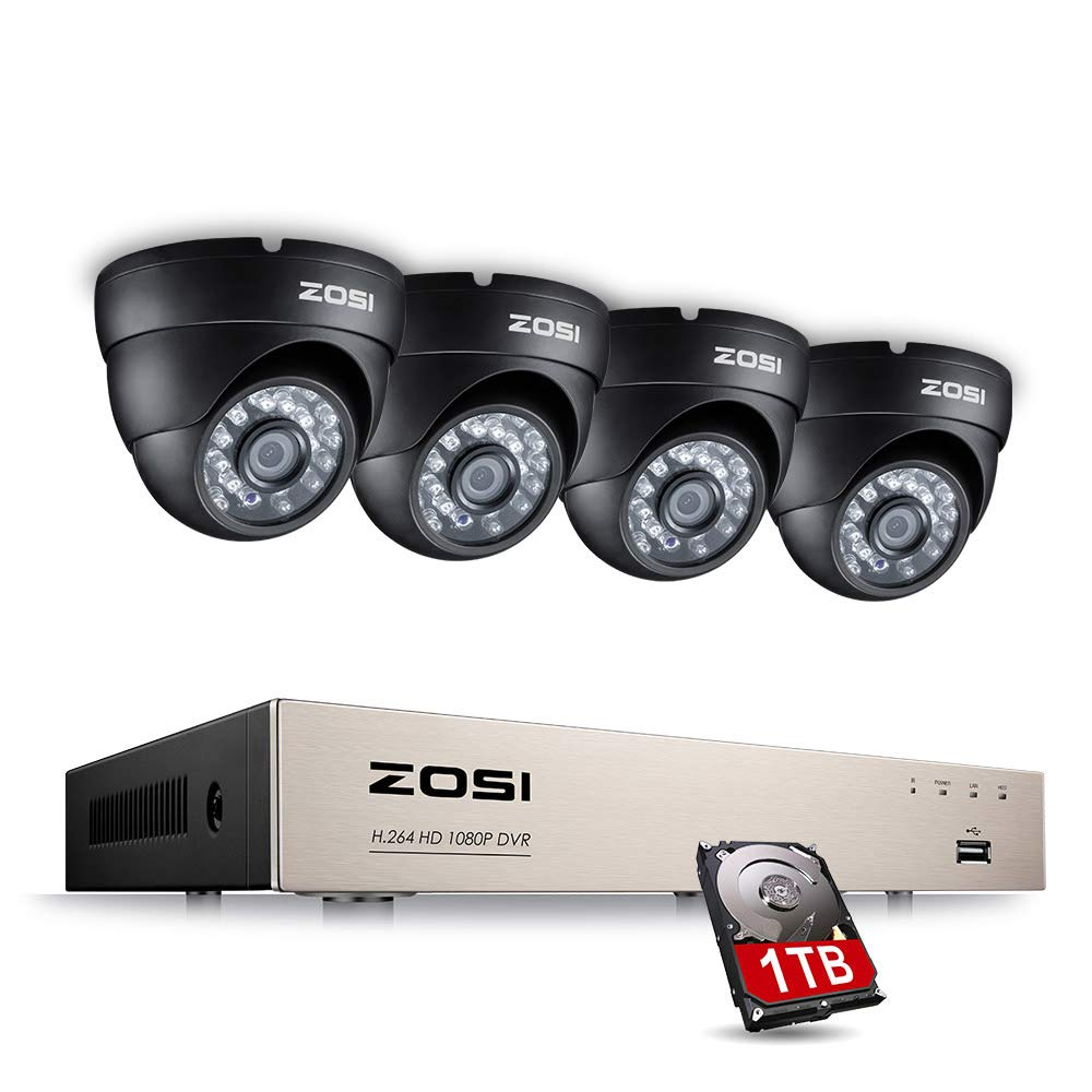 ZOSI 8CH 2.0MP Surveillance System 1080P Security Dvr with 4 Dome Cameras & 1TB Hard Drive for Outdoor Indoor Security with Motion Detection 24/7 Recording & Remote App On Pc Smartphone