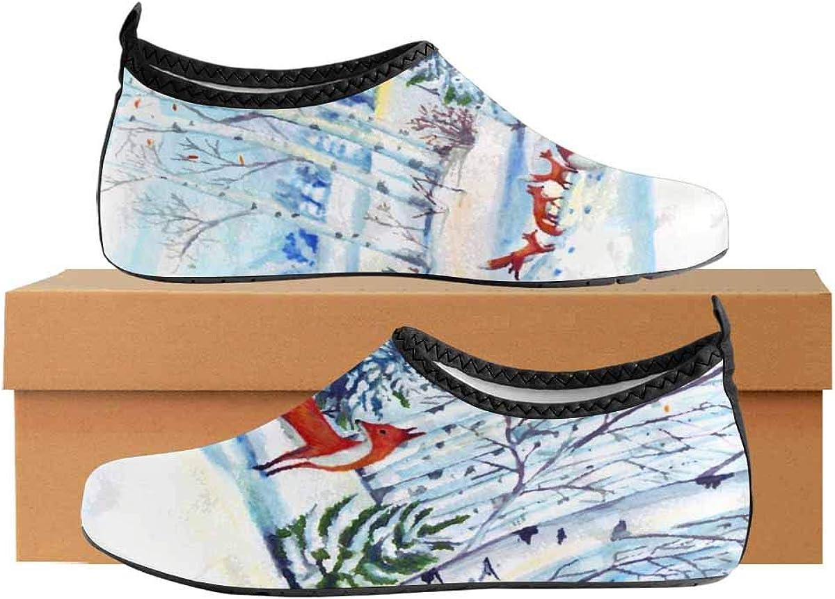 INTERESTPRINT Mens Quick Dry Barefoot Aqua Shoes Watercolor Winter Fox Outdoor Beach Swimming Water Socks