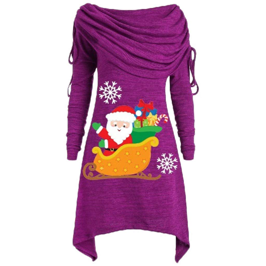 ZOMUSAR Women's Bib Collar Irregular Pleated One-Shoulder Santa Claus Top Plus Size Ruched Foldover Collar Tunic Blouses Purple by ZOMUSAR