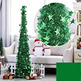 Yugust Artificial Christmas Tree Metal Stand, Green Tinsel Coastal Glittery Christmas Tree, 4Ft Collapsible Pop Up Tinsel Xmas Trees with Plump Sequin Holiday Decorations - Easy to Assemble