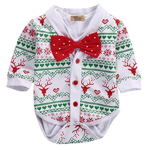 Newborn Baby Girl Boy Snowflake Coat+Romper Playsuit Christmas Outfits Clothes (0-3 Months, White)