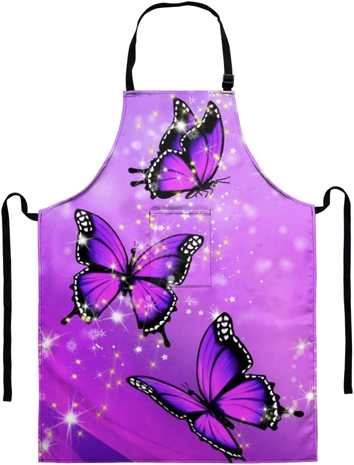 Babrukda Purple Bling Butterfly Women's Kitchen Apron Adjustable Cooking Baking Garden Chef Apron with Pocket Great Gift for Wife Ladies Lovely Waterproof Kitchen Protective Decor Accessiores