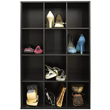 PIGEON HOLE   12 Pair Shoe Storage / Cubby Hole Display / Media Shelves    Black