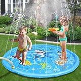Splash Pad Shark Pattern Exciting Design Summer Water Toys Enhanced PVC 60In-Diameter Sprinkle & Splash Play Mat for Baby Children Summer Play Beach Yard Outdoor Garden Lawn