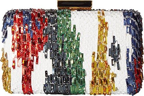 Oscar de la Renta Women's Rogan Box Clutch White Multi Embroidered Satin One Size by Oscar de la Renta