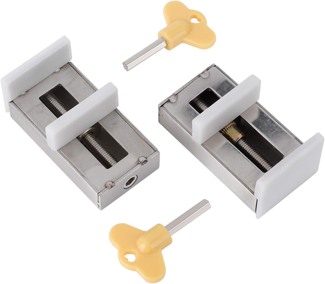 Pack de 2 cerraduras correderas para ventanas,bloqueo de seguridad para marco de puerta de aleación de aluminio con llave ,seguridad para niños antirrobo