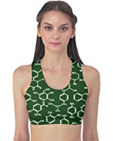 CowCow Womens Green Organic Chemistry Pattern Formulas Sport Bra