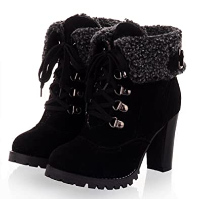 Women's Vintage Warm Antiskid Round Toe Dress Block High Heel Platform Booties Lace Up Snow Ankle Boots Shoes