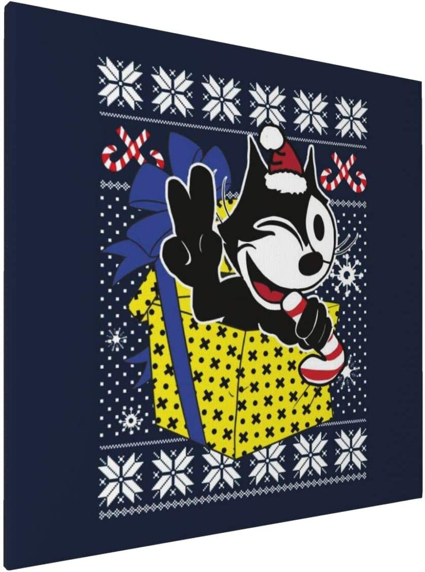 1007 Canvas Prints Wall Art Paintings(20x20in) Felix The Cat Christmas Knit Pattern Pictures Home Office Decor Framed Posters & Prints