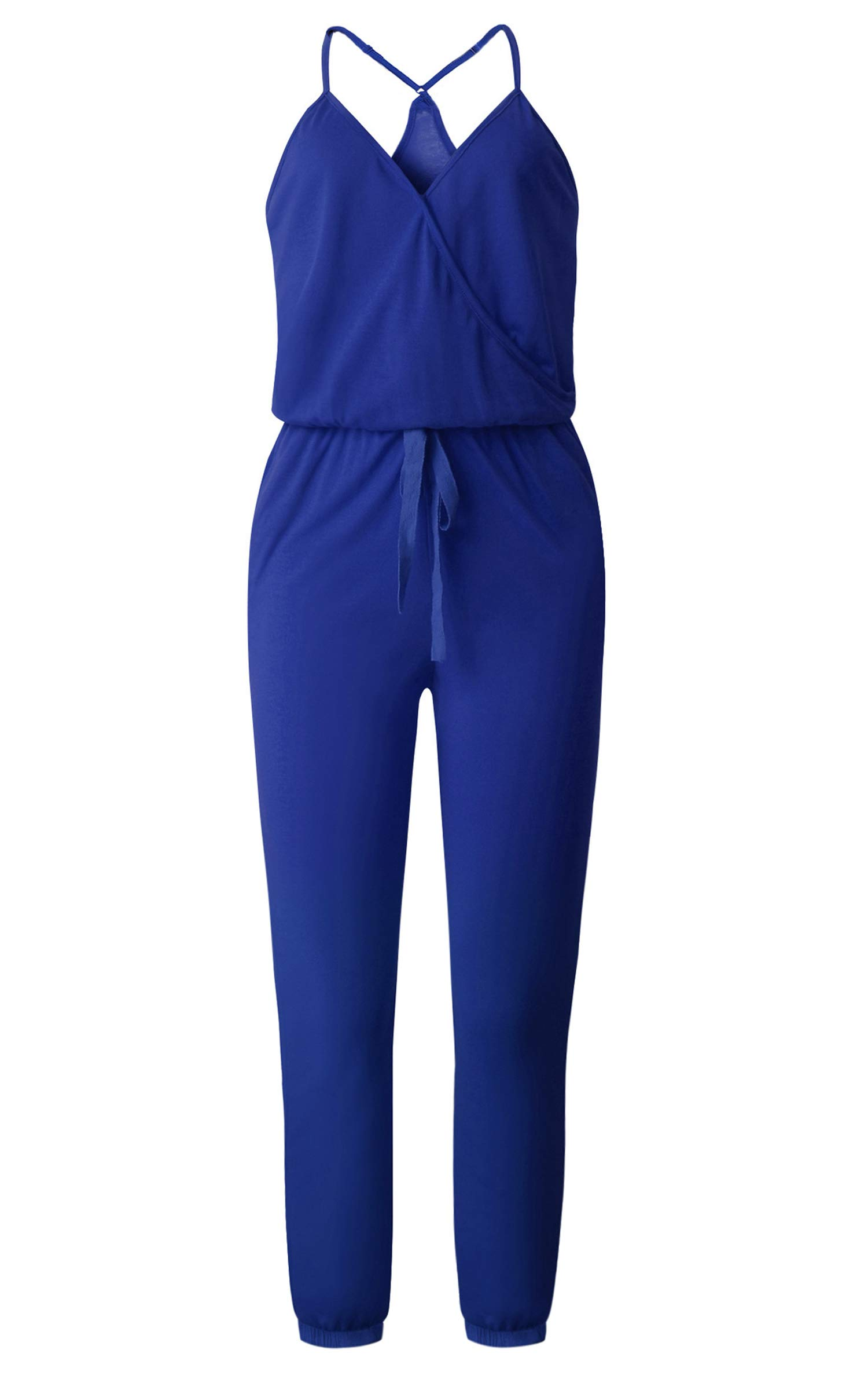 ECOWISH Women's V Neck Spaghetti Strap Drawstring Waisted Long Pants Jumpsuit Rompers Blue M by ECOWISH (Image #3)