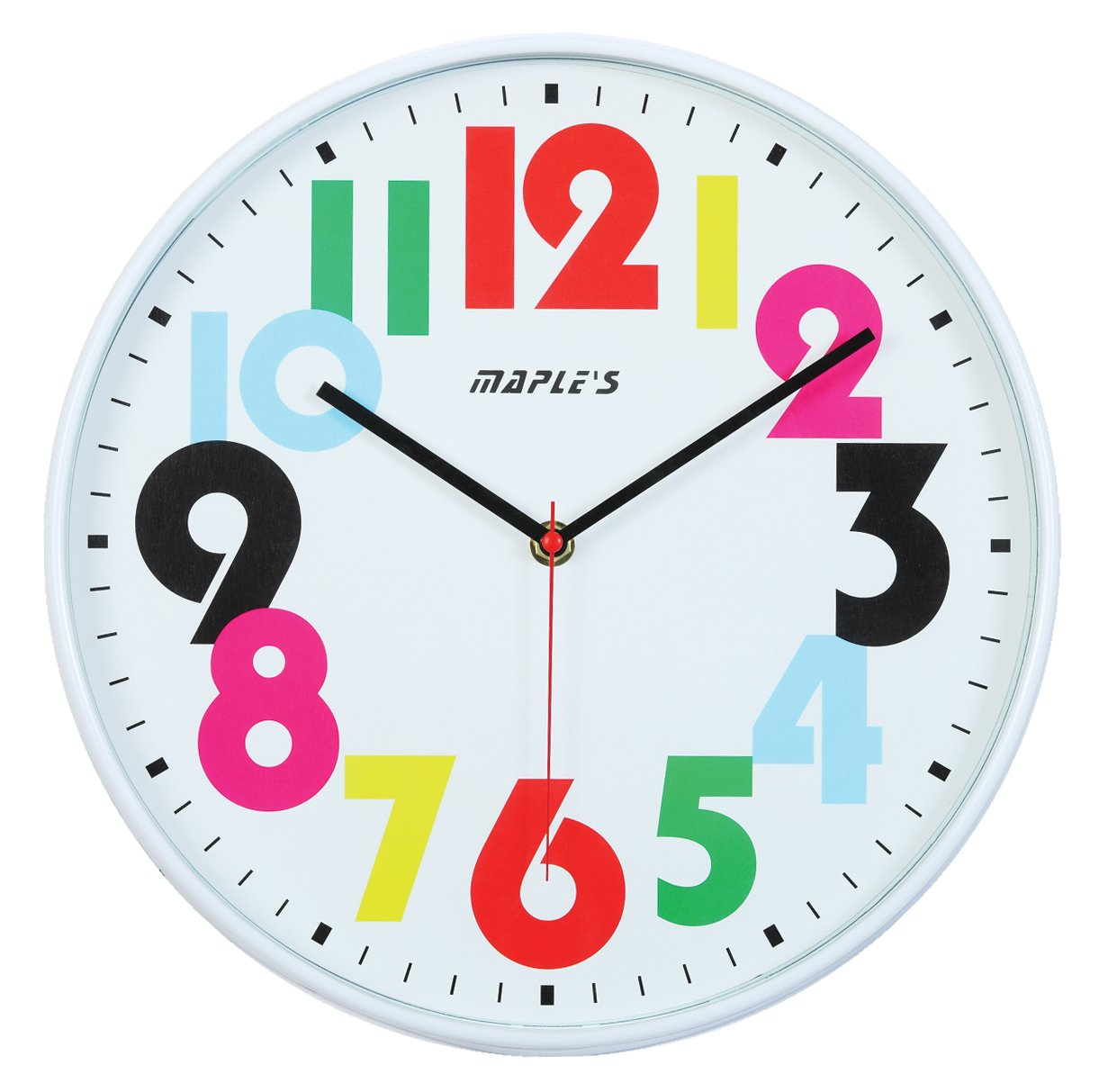 Amazon maples 12 inch wall clock white face with colored amazon maples 12 inch wall clock white face with colored numerals home kitchen amipublicfo Image collections