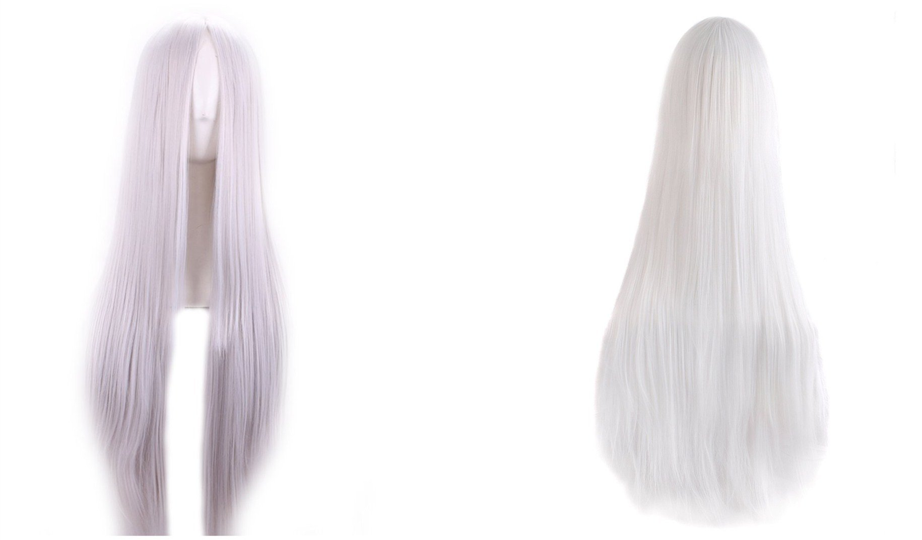 VIMIKID 30'' 75cm Long Straight White Middle Parting Heat Resistant Synthetic Cosplay Costume Party Hair Wig by VIMIKID (Image #3)