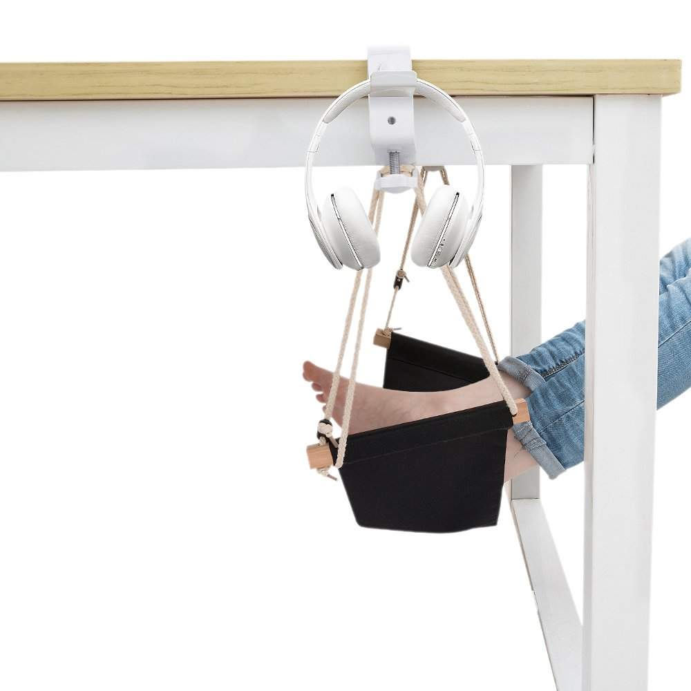 Foot Hammock Under Desk Footrest Portable Desk Feet Hammock with Headphones Holder Black