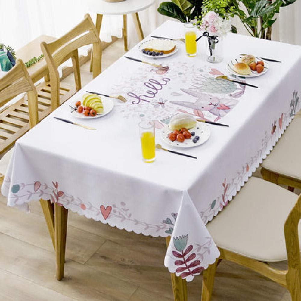WJJYTX Wachstuch tischdecke, quadratische tischdecke klapptisch Abdeckung wasserdicht Polyester Baumwolle Land Garten für küchenmöbel Garten Kaninchen @ 137 * 200