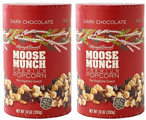 Harry & David (TM), Moose Munch Gourmet Popcorn, Dark Chocolate, 10 Oz Canister (Combo Set of Two) (Gourmet Snack Combo)