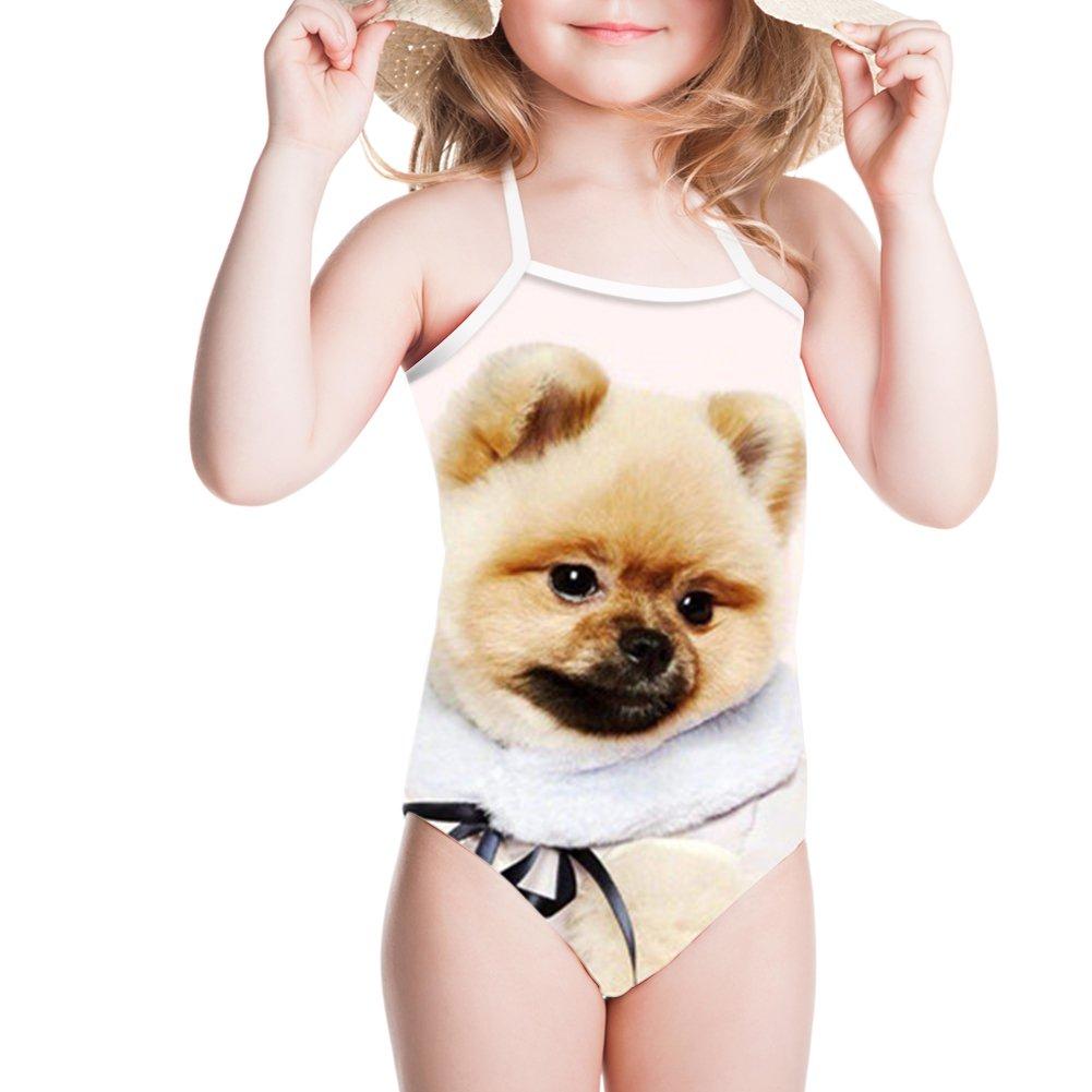 Sannovo Pomeranian Print Children Sport Swim Suit Bikinis Beach Wear for Summer Spring 7T-8T
