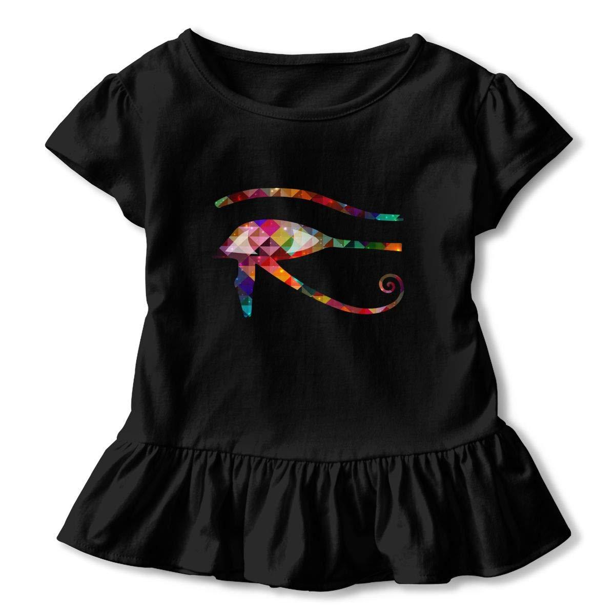 CZnuen Eye of Horus Prismatic 2-6T Baby Girls Cotton Jersey Short Sleeve Ruffle Tee