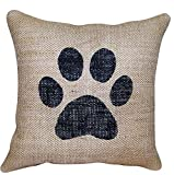 MaxEcor Dog Paw Pet Print Filled Throw Burlap 12 Inch Accent Decor Living Bed Room Pillow (12X12)