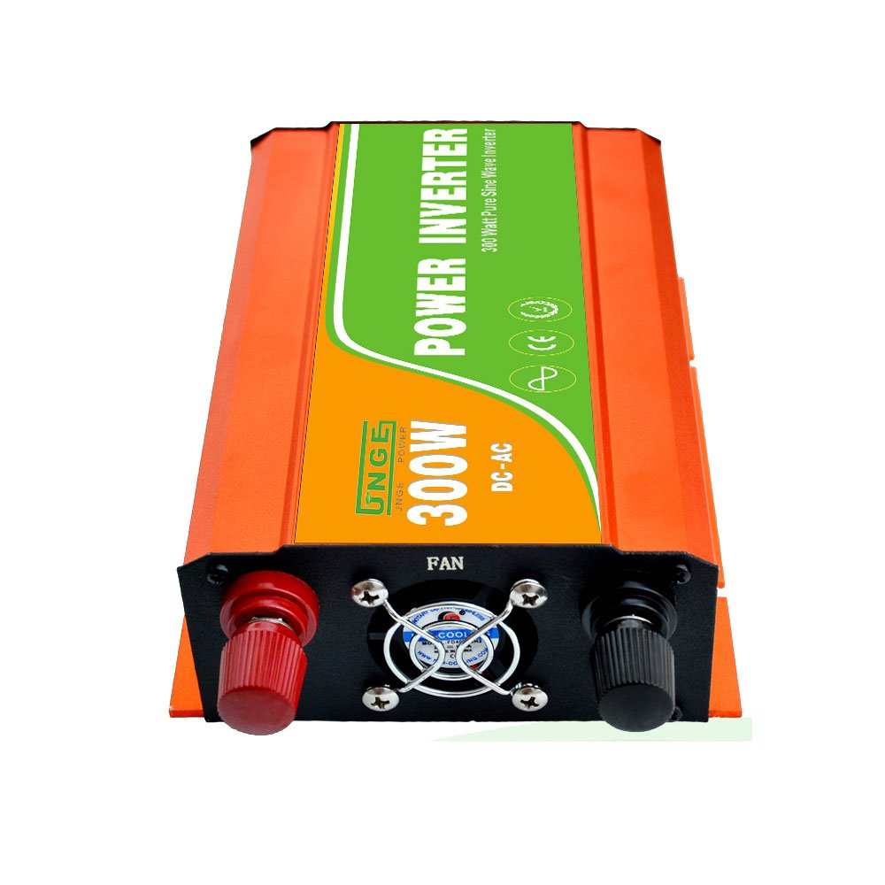 JNGE POWER 300W DC to AC Pure Sine Wave Solar Power Inverter with 5V USB and 120V AC output outlets (12V) by JNGE (Image #3)
