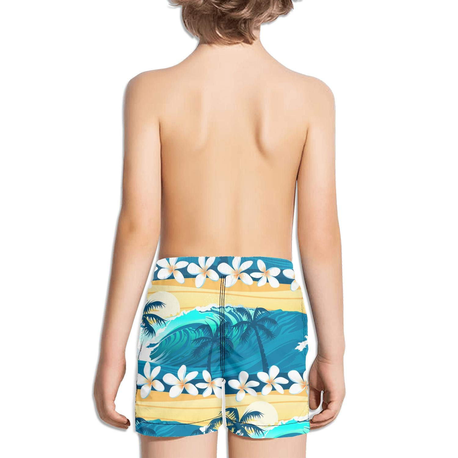 Boys Kids Tropical Surfing Palm Trees Quick Dry Beach Swim Trunk Novelty Swimsuit Beach Shorts with Pocket