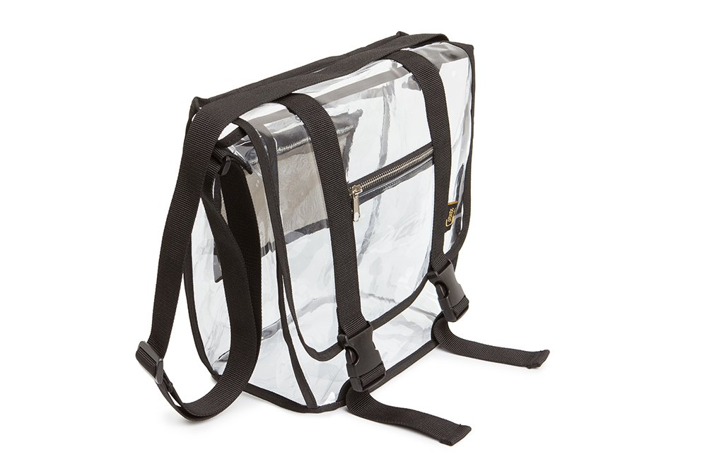 Clear Stadium Approved Bag 12 x 6 x 12 with RFID Blocking Pocket and Buckles