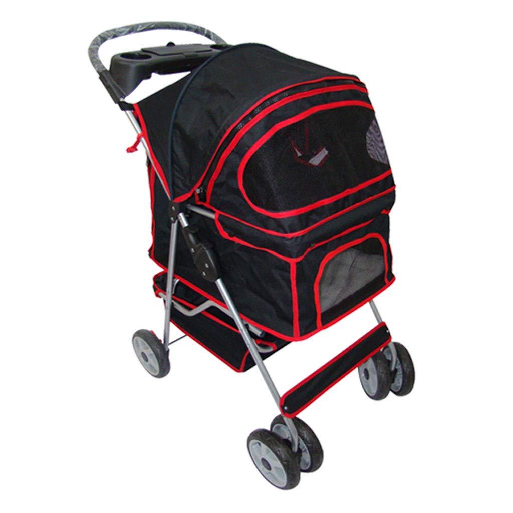 Black GWM Puppy Cat Pet Travel Stroller Pet Trolley Pushchair Rear Brakes Maximum Load 20kg (color   BLACK)