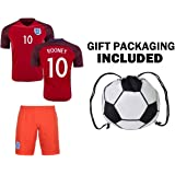 0081e8090 Fan Kitbag Rooney #10 England Youth Home/Away Soccer Jersey & Shorts Kids  Premium
