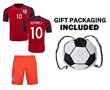 Fan Kitbag Rooney #10 England - Camiseta de Fútbol para Niños con Cordón de Regalo