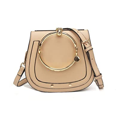 c329859bd72 Amazon.com: Yoome Women Punk Circular Ring Handle Handbags Small Round Purse  Crossbody Bags For Girls (Beige): Shoes