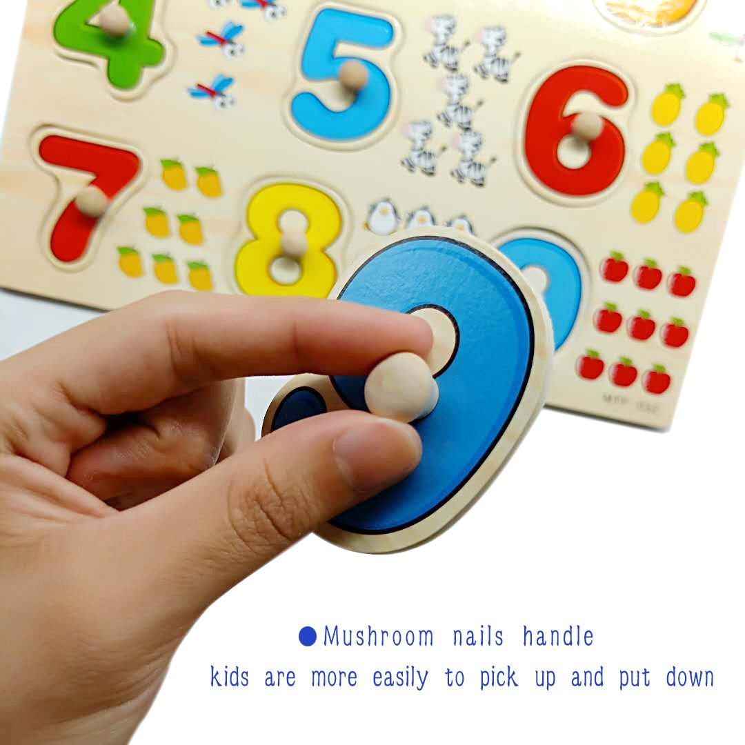 Toddler Puzzles Wooden Peg Puzzles for Toddlers 2 3 4 5 years old (Set of 3) - Numbers, Alphabet and Objects Puzzle by Wallxin by Wallxin (Image #3)