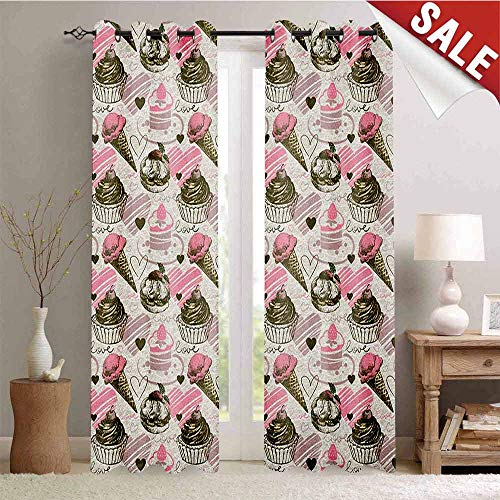 Ice Cream Window Curtain Fabric Grunge Style Cupcakes with Murky Heart Love Romance Illustration Drapes for Living Room W84 x L96 Inch Dust Pale Pink Army Green