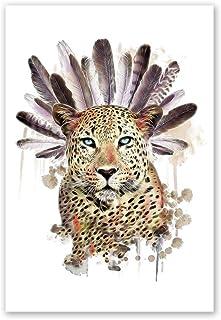 Trendyest Frameless pittura a olio piume leopardo di numeri astratto immagini decorazione, D