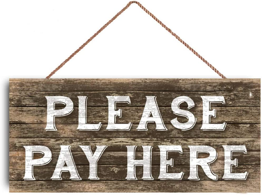 Please Pay HERE Sign Restaurant Sign Cashier Store Boutique Sign Custom Wood Signs Design Hanging Gift Decor for Home Coffee House Bar 5 x 10 Inch