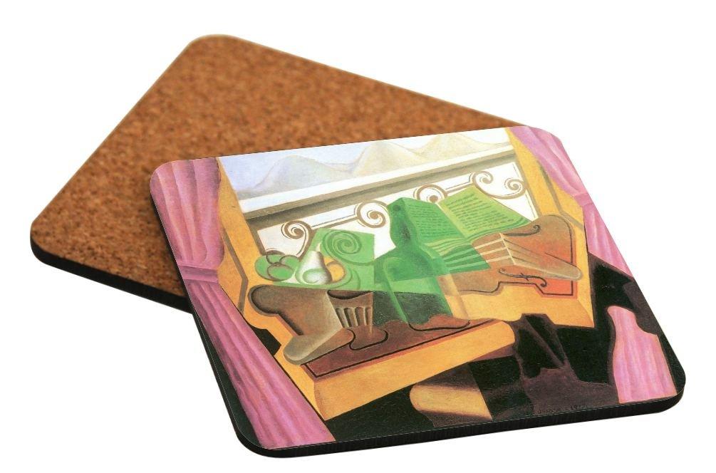 Rikki Knight Juan Gris Art Open Windows with Hills Design Square Beer Coasters