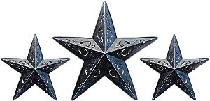 BLACK LACY METAL BARN STAR SET - 2X 12