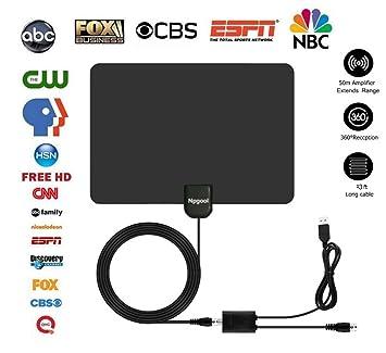 Antena HDTV, 50 mile rango digital interior amplificada HDTV antena con amplificador desmontable amplificador de