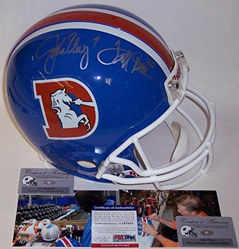 John Elway & Terrell Davis Autographed Denver Throwback Broncos Authentic Helmet - PSA/DNA