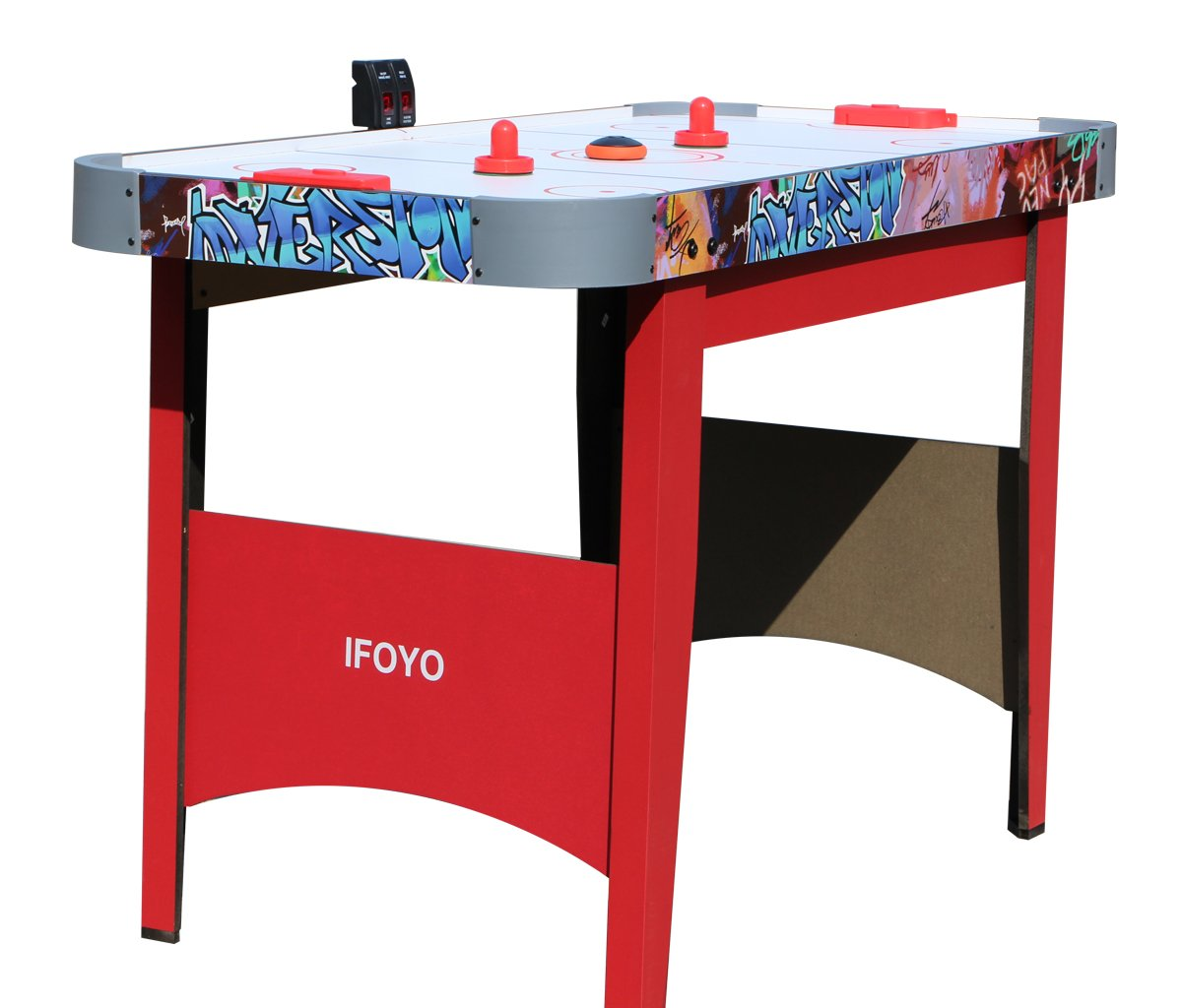 IFOYO Ice Hockey Table, 48 Inches / 4ft Small Hockey Table for Kids and Adults with Electronic Scorer, Red