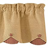 Park Designs Burlap & Checked Lined Scalloped Valance, 58 x 15″, Red