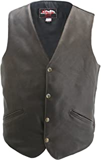 "product image for Classic Vintage Leather Vest (Chest:44"" Length: Regular) Distressed Brown"