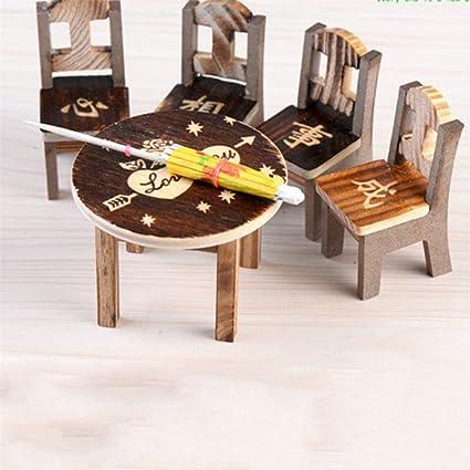 1 juego de muebles de madera en miniatura para decoración de ...