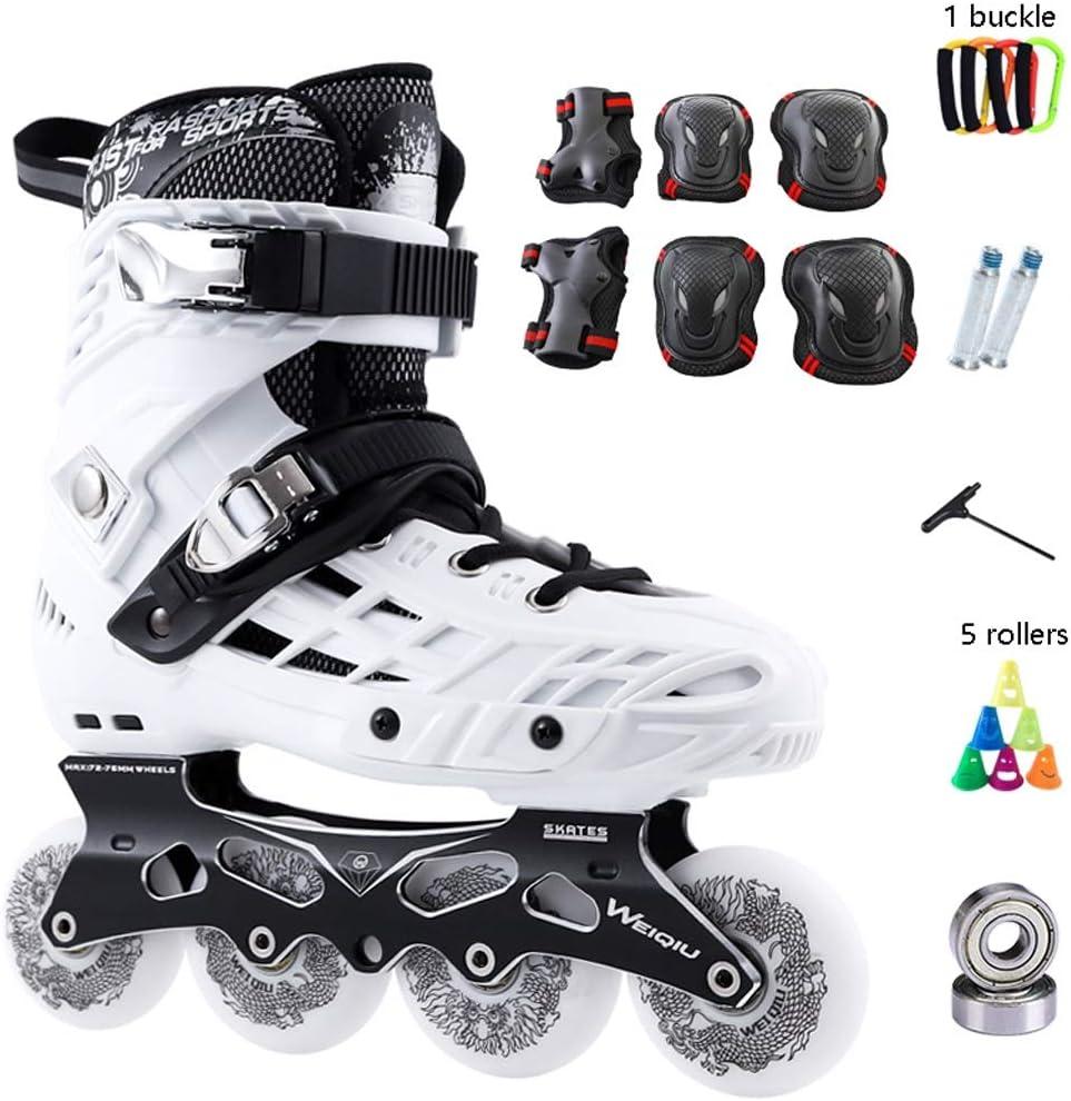 インラインスケート プロのインラインスケート、初心者向け高速ベアリング単列スケート、成人用ローラースケート、2色オプション (Color : 白い, Size : EU 35/US 4/UK 3/JP 22.5cm) 白い EU 35/US 4/UK 3/JP 22.5cm